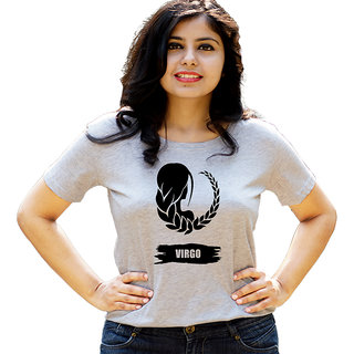 HEYUZE Zodiac Sign Virgo Grey Printed Women Cotton T-Shirts
