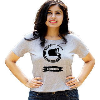HEYUZE Zodiac Sign Aquarius Grey Printed Women Cotton T-Shirts