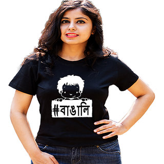 HEYUZE Hashtag Bengali Black Printed Women Cotton T-Shirts