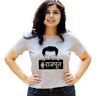 HEYUZE Hashtag Rajput Grey Printed Women Cotton T-Shirts