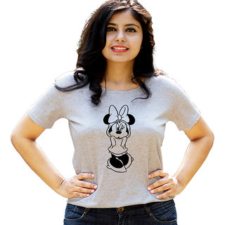 HEYUZE Cute Cartoon Grey Printed Women Cotton T-Shirts