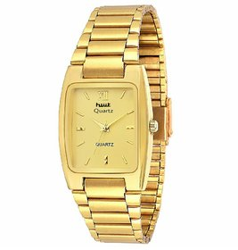 HWT Rectangle Dail Gold Metal StrapMens Quartz Watch For Men