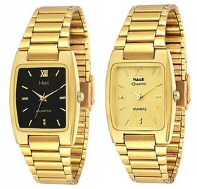 KDS Rectangle Black And Golden Dail Golden Metal Mens Watches Combo