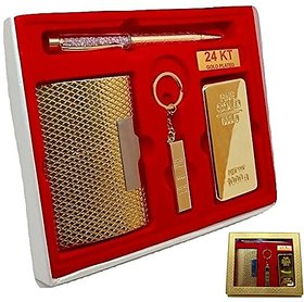 Combo 4 In 1 Gift Set With Metal Keychain, Card Holder,