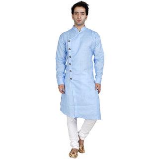 Conway Light Blue Cross Desiged Cotton Kurta For Mens