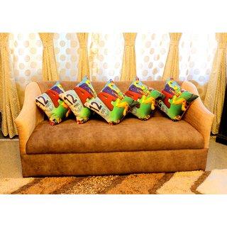 Home Fashion Jute Digital 3D Print Cushion Cover 16X16 Set Of 5 Piece/ABC