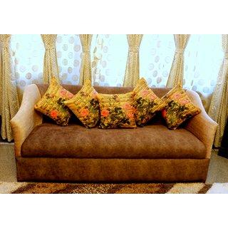 Home Fashion Jute Digital 3D Print Cushion Cover 16X16 Set Of 5 Piece/musical flowers