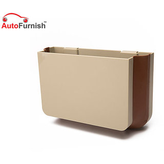 Autofurnish Car Seat Organizer Protable Trash Bin Car Dustbin Storage Box (Beige) 1Pc