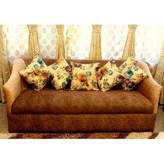Home Fashion Jute Digital 3D Print Cushion Cover 16X16 Set Of 5 Piece/blue flowers