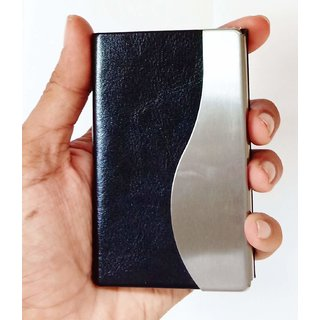 Leather Finish Large Size Stainless Steel Business Card Holder