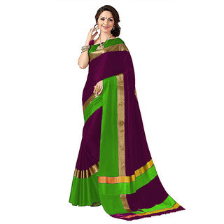 Purple Poly Cotton Striped Pattern Saree With Matching Blouse Piece(dfcndPC13)
