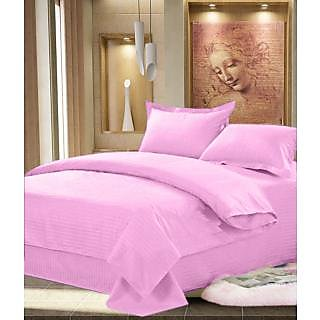 Choco Beautiful looking Plain Design 100  cotton solid Double Bed sheet with 2 pillow covers - Pink