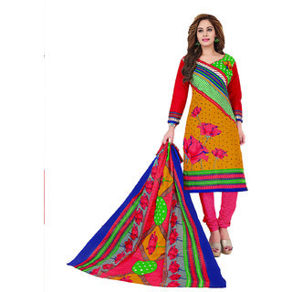 Drapes Women's Multicolor  Cotton printed Dress Material (Unstitched)