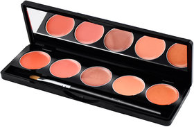 GlamGals 5 color lipstick palette,9g (Brown,Orange,Red)