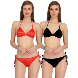 Buy Arousy Satin Bra Panty Set Pack of 2 Online   ₹280 from ShopClues 0d1c3501e