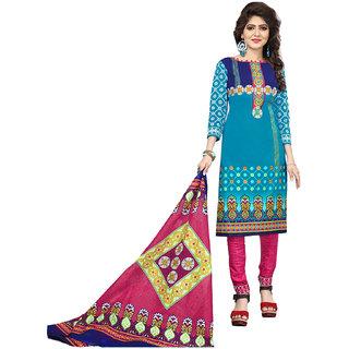 Drapes Women's Multicolor Cotton printed Dress Material (Unstitched)
