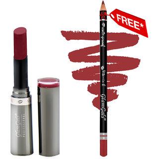 Buy GlamGals Crme Matte Lipstick 3 gm Red Fox & Get Lip Liner Pencil Free