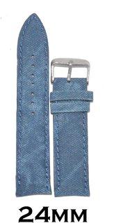 Kolet 24mm Padded Denim type Leather Watch Strap/Band (Blue)
