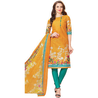 Drapes Women's Orange Cotton printed Dress Material (Unstitched)