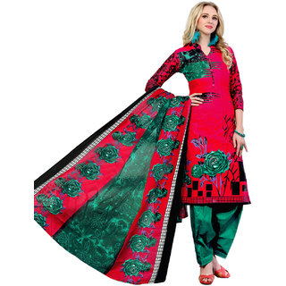 Drapes Women's Red Cotton printed Dress Material (Unstitched)