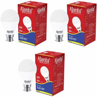 Ajanta bulb 9w led white pack 3