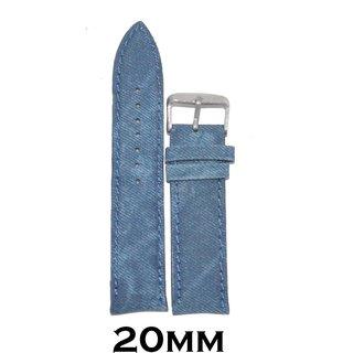 Kolet 20mm Padded Denim type Leather Watch Strap/Band (Blue)