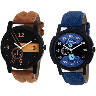 New Combo Broun And Blue Leather Belt Latest Designing Stylist Analog Watch For Men Boys