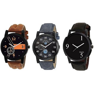 5STAR Group Analogue Black Blue Dial Mens Combo Of 3 Watch