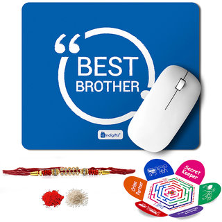 Indigifts Rakshabandhan Gifts for Brother Set of Best Brother Quote Printed Mouse Pad 8.5x7 inches Crystal Rakhi for Brother Roli Chawal & Greeting Card - Rakhi for Brother with Gifts Raksha Bandhan Gifts Rakhi Gifts for Brother