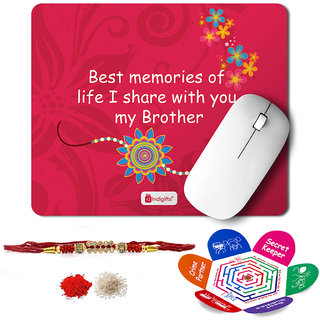 Indigifts Rakshabandhan Gifts for Brother Set of Best Memories With my Bro Quote Printed Mouse Pad 8.5x7 inches Crystal Rakhi for Brother Roli Chawal & Greeting Card - Rakhi for Brother with Gifts Raksha Bandhan Gifts Rakhi Gifts for Brother