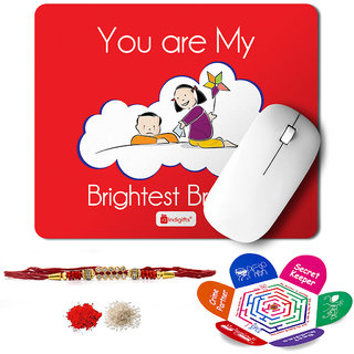 Indigifts Rakshabandhan Gifts for Brother Set of Brightest Bro Quote Printed Mouse Pad 8.5x7 inches Crystal Rakhi for Brother Roli Chawal & Greeting Card - Rakhi for Brother with Gifts Raksha Bandhan Gifts Rakhi Gifts for Brother