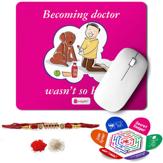 Indigifts Rakshabandhan Gifts for Brother Set of Becoming Doctor Quote Printed Mouse Pad 8.5x7 inches Crystal Rakhi for Brother Roli Chawal & Greeting Card - Rakhi for Brother with Gifts Raksha Bandhan Gifts Rakhi Gifts for Brother