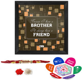 Indigifts Rakshabandhan Gifts for Brother Bro is a friend Printed Gift Set of Poster Frame 6x6 inches, Crystal Rakhi for Brother, Roli, Chawal & Greeting Card - Rakhi for Brother with Gifts, Raksha Bandhan Gifts, Rakhi Gifts for Brother