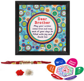 Indigifts Rakhi Gifts for Brother Bro May All Your Wishes Come True Printed Gift Set of Poster Frame 6x6 inches, Crystal Rakhi for Brother, Roli, Chawal  Greeting Card - Rakshabandhan Gifts for Brother, Rakhi for Brother with Gifts, Raksha Bandhan Gifts