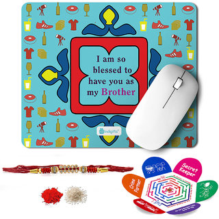 Indigifts Rakshabandhan Gifts for Brother Set of Blessed to Have You as my Bro Printed Mouse Pad 8.5x7 inches Crystal Rakhi for Brother Roli Chawal & Greeting Card - Rakhi for Brother with Gifts Raksha Bandhan Gifts Rakhi Gifts for Brother