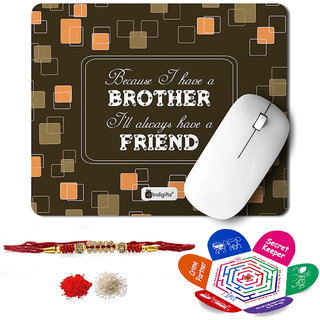 Indigifts Rakshabandhan Gifts for Brother Set of Bro is a friend Printed Mouse Pad 8.5x7 inches Crystal Rakhi for Brother Roli Chawal & Greeting Card - Rakhi for Brother with Gifts Raksha Bandhan Gifts Rakhi Gifts for Brother