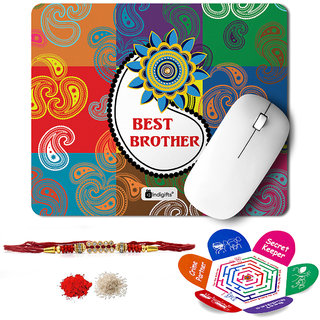 Indigifts Rakshabandhan Gifts for Brother Set of Best Bro Printed Mouse Pad 8.5x7 inches Crystal Rakhi for Brother Roli Chawal & Greeting Card - Rakhi for Brother with Gifts Raksha Bandhan Gifts Rakhi Gifts for Brother