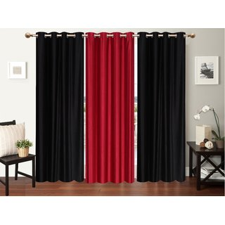 Myru International Polyester Long door Curtain 274cm(9ft) Pack of 3