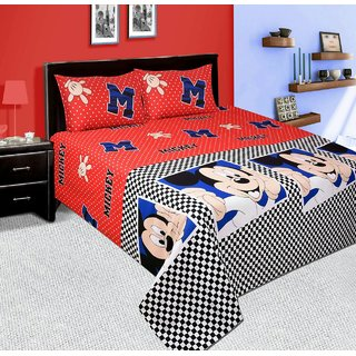 Bhawna Furnishing Red Mickey Mouse Double Bedsheet Pack of 1