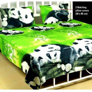 Bhawna Furnishing Green Panda Double Bedsheet Pack of 1