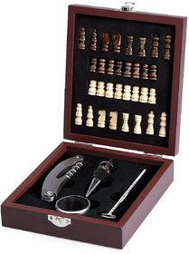 Wooden Chess Game Wine Gift Set With Wine Opener, Drip Collar, Stopper, Wine Thermometer  -TARGET PLUS