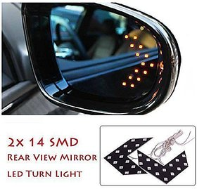 1 Pair of SMD LED Arrow Panel Lights for Car Side Mirror Turn Indicator Yellow