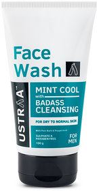 USTRAA Face Wash Dry Skin- Mint Cool - 100gm - Intense moisturization for Dry to Normal skin - No Sulphate, No Paraben