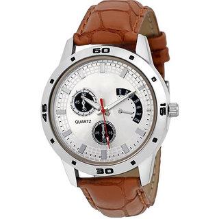 Surbhi Fashion Men's Brown, Silver Leather Watch