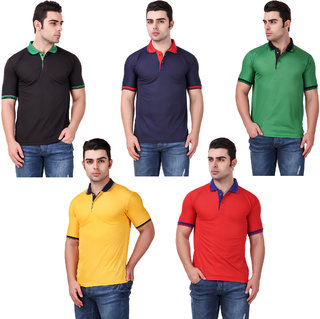 KETEX Men's Multicolor Cotton Blend Polo Pack of 5
