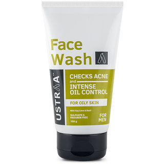 Ustraa Face Wash - for Oily skin - 100g - For acne-prone skin,No Sulphate No Paraben, Checks acne and blackheads