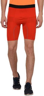 Finity Men's Polyester Red Color Compression Gym Shorts