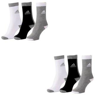 Adidas Multicolour Cotton Full Length Socks - 6 Pairs
