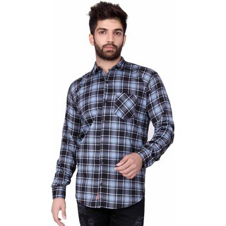 Jugend Grey Lining checkered Cotton slim fit Casual shirt for men