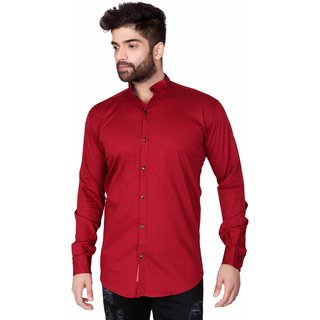 Jugend Solid Casual Full Sleeves Mandarin Collar Slim fit Maroon Cotton Shirt for men